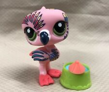 Littlest Pet Shop #1438 Pink Postcard Flamingo with Tattoos and Green Eyes  LPS