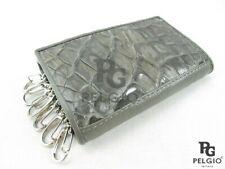 PELGIO Genuine Crocodile Skin Leather Keychains Key Holders Trifold Wallet Grey