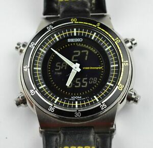 Genuine Seiko Sportura Chronograph H024-00C8 Stainless Steel Gents Watch Yellow