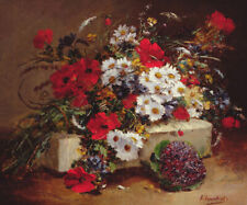 Eugene Henri Cauchois Poppies And Daisies Fine Art Home Decor Giclee Canvas 8x10