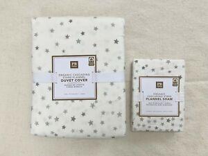 New Pottery barn Teen Cascading Stars Organic Flannel Duvet Cover Sham Grey 2pc