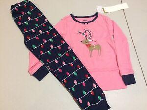 NWT Gymboree Christmas Girls Gymmies Reindeer Lights Deer Pajama Set 7,8