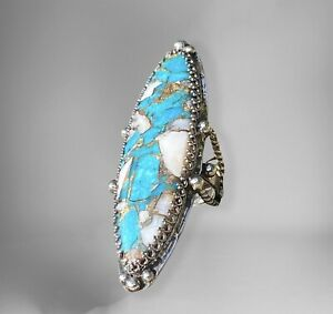 Colbaugh Composite Kingman Turquoise & Pink Opal Ring