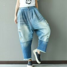 Loose Women's Denim Harem Pants Drop Crotch Jeans Baggy Wide Leg Casual Trousers