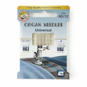 Universal Domestic Sewing Machine Needles by Organ ECO Pack of 5 - Sizes 60-110