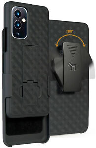 Black Hard Case Cover with Kickstand and Belt Clip Holster for OnePlus 9 Phone
