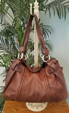 B Makowsky brown pebbled leather shoulderbag with side zippers silver hardware