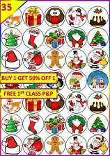 35 Christmas Edible Cup Cake Toppers Santa Snowman Tree Wafer Xmas Winter 4CM
