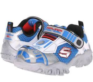 Toddler Skechers StarWars Astromech Lights 97022N Silver Blue 100% Authentic New