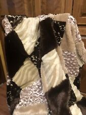 Beautiful Luxurious Leopard Print Patchwork Super Soft Throw Blanket Good Cond