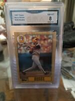 1987 Topps Pirates Giants Barry Bonds Mint Rookie Card #320 GMA 8 NM- Mint