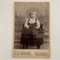Antique Cabinet Card Photo Adorable Little Girl Tinted Ring Pin Indianapolis IN