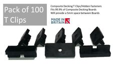 More details for pack of 100 - composite decking clips hidden fixing fasteners plastic t clips