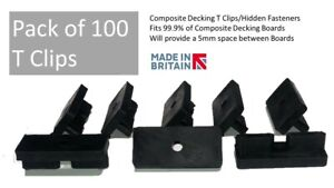 Pack of 100 - Composite Decking Clips Hidden Fixing Fasteners Plastic T Clips