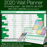 2020 Year Planner Wall Chart ✔Staff ✔Holidays+Stickers+Pens+Desk Calendar ✔GREEN
