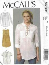 McCall's M7391 Misses Laced-Up or Split-Neck Tops and Dress Size XS - M New