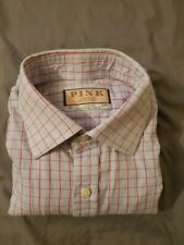 THOMAS PINK Men's Button Front Size PINK CHECK Long Sleeve Shirt 34.5