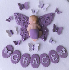 Edible personalised butterfly & baby Christening/1st birthday cake topper purple