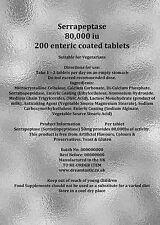 Serrapeptase 80'000 iu 200 enteric coated tablets UK Manufactured FREE UK POST