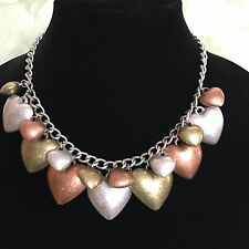 Puffy Heart Necklace Distressed Mixed Metal Chunky Statement Boho Hippie Gypsy