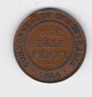 1924 Half Penny Halfpenny Coin Commonwealth of Australia Shows 6 pearls L-942