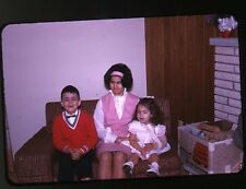 1960s  amateur Kodachrome photo slide Kids on Couch Boy and Girls