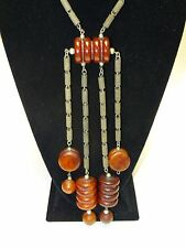 ANTIQUE HEAVY TRIBAL CHERRY AMBER RED FATURAN BAKELITE NECKLACE 193 g* TESTED