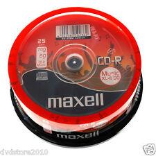 628529 25 Maxell Audio CD-R 80 Minuti Music XL2 48X Cakebox 4902580502362