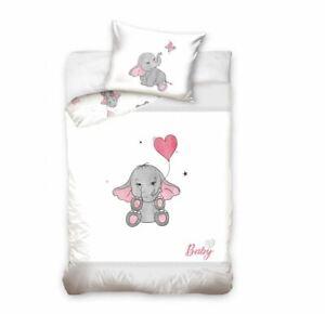 Baby Bedding Cover Set White Pillowcase Duvet Cover Two-Sided For Crib 100x135