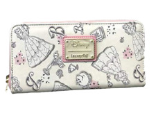 Loungefly Disney Beauty and the Beast Belle Pink Allover-Print Zip-Around Wallet