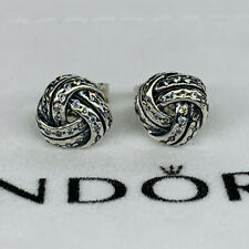 New Pandora Sterling Silver Sparkling Love Knot Earrings