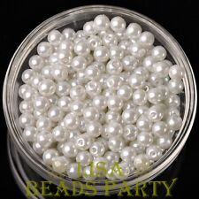 New 300pcs 6mm Round Czech Glass Pearl Loose Spacer Beads Pure White