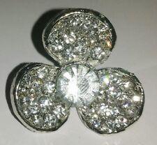2 Silver Grade A Rhinestone Crystal Flower Buttons 26mm M0324