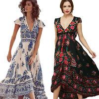 Women Bohemian Maxi Dress Chiffon Cap Sleeve Summer Evening Party Beach Sundress