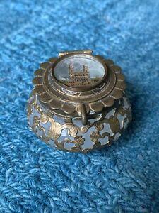 St. Sulpice Paris French Opaline Glass Souvenir Inkwell/Trinket Box