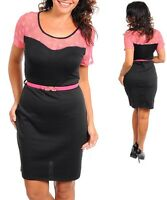 Ladies Women Plus Size Black Pink Pencil Work Dress Size 14 MADE IN USA NEW