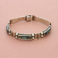 blushed sterling silver vintage mexico abalone panel bracelet 6.5in
