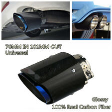 Durable 76-101mm Real Carbon Fiber Glossy Half Blue Car Exhaust Tip Muffler Pipe