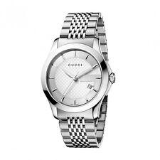 GUCCI G-TIMELESS OROLOGIO YA126401 ACCIAIO bianco 38 MM watch man swiss garanzia