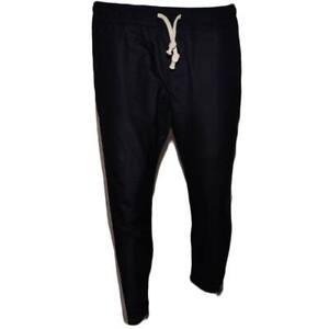 Pantalone Uomo Nero Panta Tuta Elastico Righe Laterali Beige Cavallo Basso Black