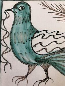 Green Bird Art Pottery Tile Trivet Cork Back Red Clay Vtg Italian Hand Painted