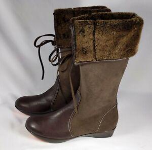 You by Crocs Womens Size 9.5 Chocolate Brown Leather Boots w/ Sheepskin Fur NIB