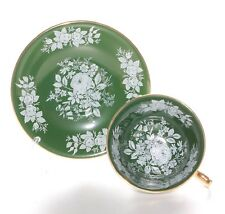 Aynsley Cabinet Cup And Saucer, Green And Floral.