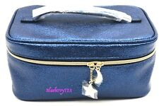 Estee Lauder Blue Faux Leather Train Case  Cosmetic Bag