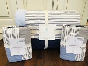 Pottery Barn Kids Wilder Patchwork Full Queen Quilt Comforter 2 Euro Shams Navy