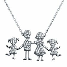 Sterling silver Daughters Mother and Dad Family Necklace CZ Cute pendant N-43