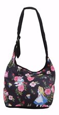 DISNEY ALICE IN WONDERLAND FLORAL TOSSED CROSSBODY HOBO BAG PURSE BY LOUNGEFLY