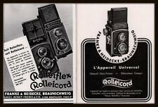 AD LOT OF 2 1934 - 37 ADS CAMERA FRENCH ROLLEIFLEX ROLLEICORD
