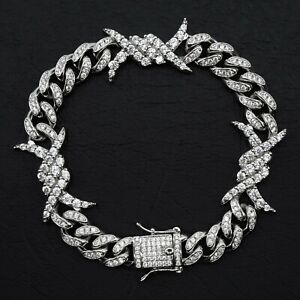 New Mens White Gold Plated 10mm Barbed Wire Bracelet with Cubic Zirconias CZ