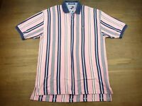 Tommy Hilfiger Mens Size XL Vintage Polo Shirt Pink Blue White Striped